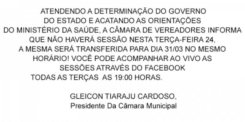 COMUNICADO - DETERMINAÇÃO DO GOVERNO